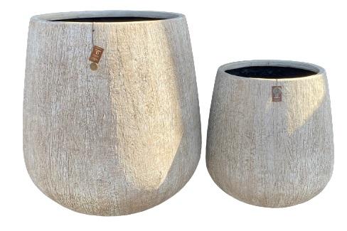 Gawler Woodlook bowl pot set 2 – 65×67 46×48 – WBEIGE – 81114