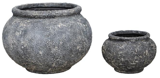 Forrest  rustic Bowl set 2 – 48×34   29×20 – Swhite-black – 82109